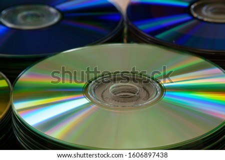 Blue and silver DVD discs