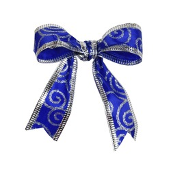 Blue and silver festive Christmas bow isolated on white