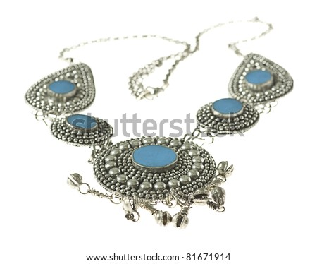 blue and silver necklace isolated on a white background