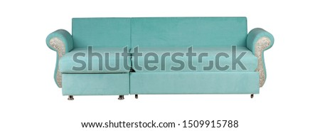 Blue and silver sofa isolated