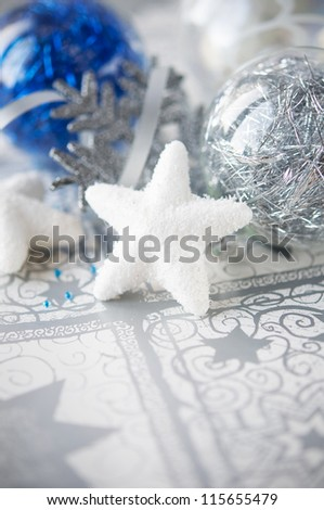 Blue and silver xmas decoration on holiday background