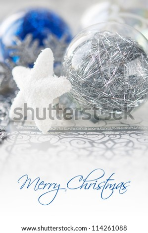 Blue and silver xmas decoration with copy space