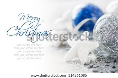 Blue and silver xmas decoration with copy space. Merry christmas.