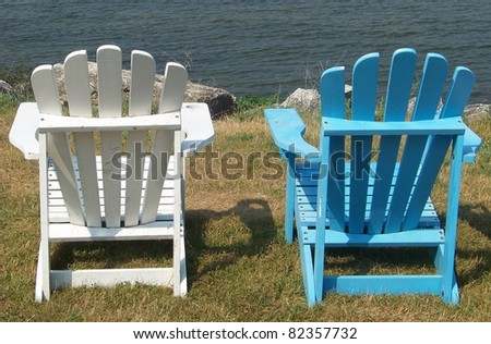 Blue and White Adirondack Chairs