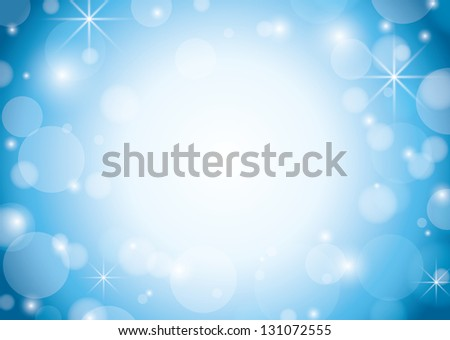 blue and white background with bokeh and stars