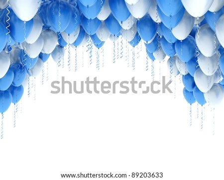 Blue and white balloons isolated on white background