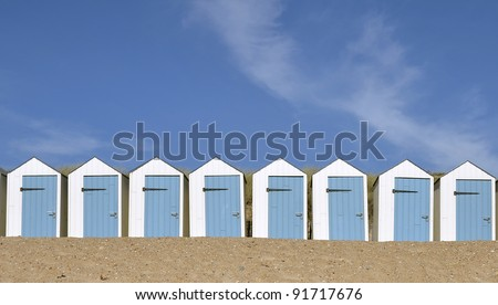 Blue and white beach hut, in the Vendée department in the Pays de la Loire region in western France
