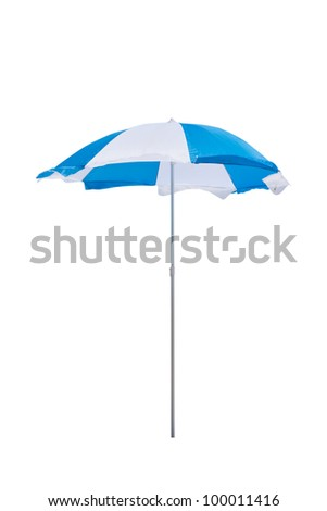Blue and white beach umbrella isolated on white background