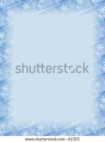 Blue and white border over blue. Snowflake theme.