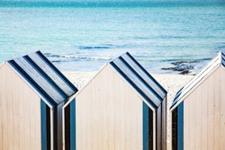 blue and white cabins on the beach  Upper Normandy