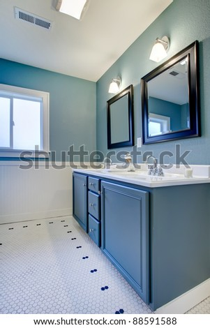 Blue and white classic modern new bathroom.