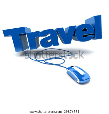 blue and white 3D illustration of the word travel connected to a computer mouse