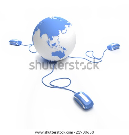 Blue and white Earth Globe oriented to Asia connected with three computer mice.