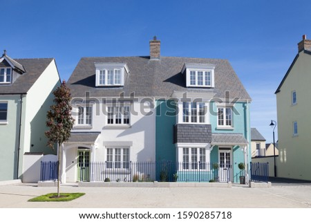 Blue and white english semi detached house ストックフォト ©