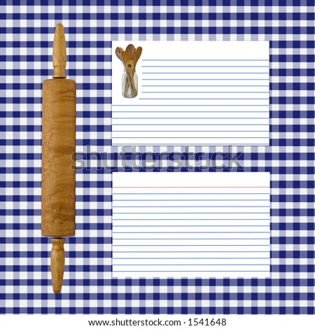 Blue and White Gingham recipe layout - All elements created by Denise Kappa
