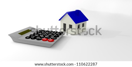 Blue And White House with Calculator