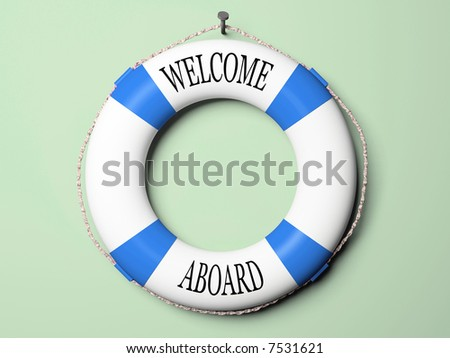 Blue and white life buoy isolated on green background