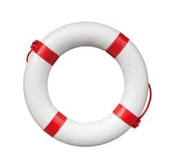 Blue and white life buoy isolated on white