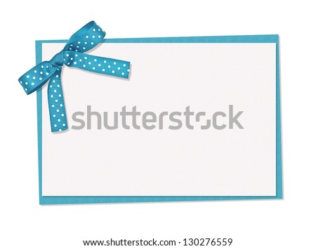 blue and white polka dot card, ribbon and bow, isolated over white background