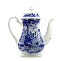 Blue and white porcelain Chinese porcelain teapot with blue motif