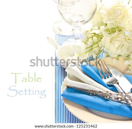 Blue and white romantic table setting.