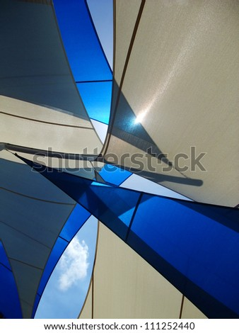 blue and white sails