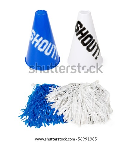 Blue and white sporting event pom-poms and cones. Isolated on white.