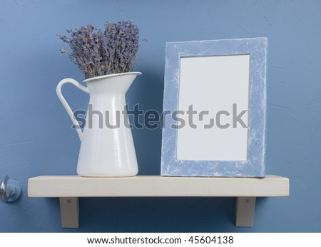 Blue and white still-life with lavender and frame