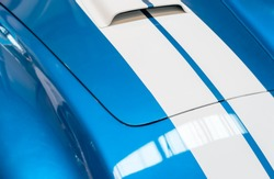 Blue and White Striped Hood with Hood Vent of Classic Car