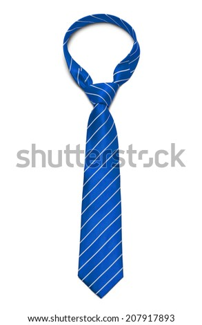Blue and White Striped Tie Isolated on White Background. Stock foto ©