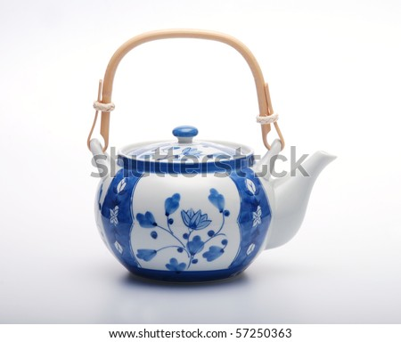 blue and white tea pot kettle japanese style