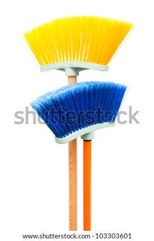blue and yellow brush the floor on a white background