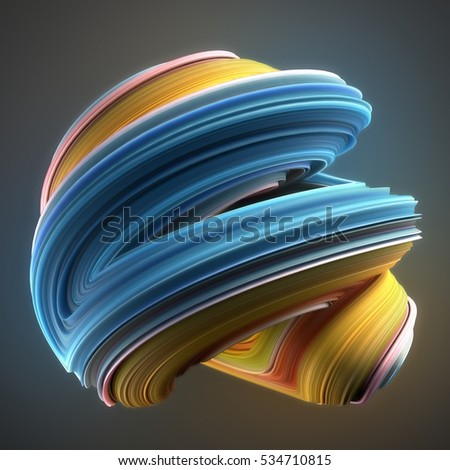 Blue and yellow colored abstract twisted shape. Computer generated geometric illustration. 3D rendering