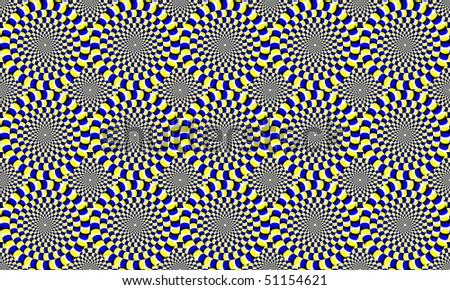 blue and yellow concentric circles, which appear to move. Optical Effect - stock photo