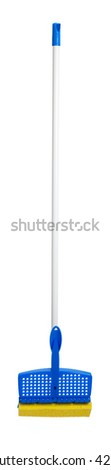 Blue and yellow sponge mop on a white background