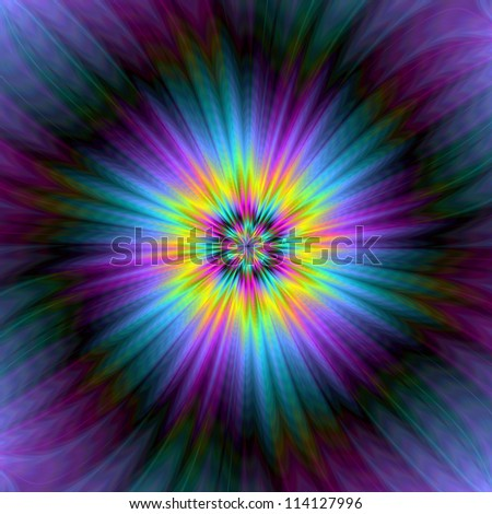 Blue and Yellow Supernova/Digital abstract image with a super nova design in yellow blue and purple. - stock photo
