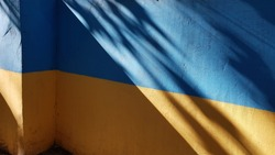 Blue and yellow wall with triangle shadows and blurry shadows from tree branches. Painted wall surface with smooth stucco corner of building. Abstract background. Colors of national flag of Ukraine