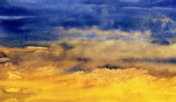blue and yellow watercolor background, formal image