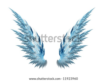 Blue angel wings made with fractal design, white background