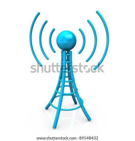 Blue antenna tower with radio waves, on white background. - stock photo