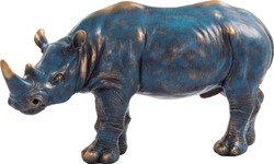 Blue antique figurine of the rhinoceros isolated on white background