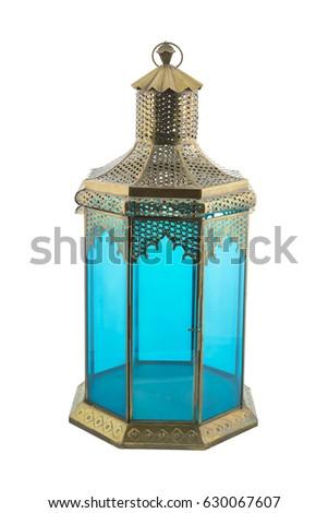 Blue Antique oriental lantern - Ramadan Lamp isolated on white background #630067607