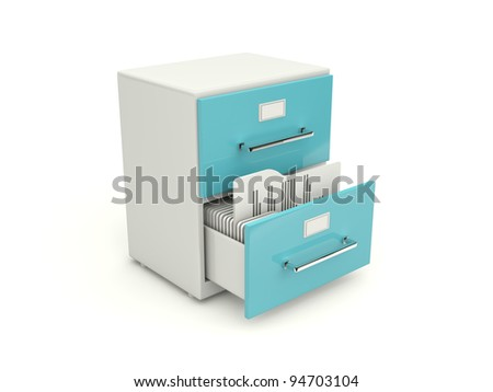 Blue archive cabinet icon isolated on white