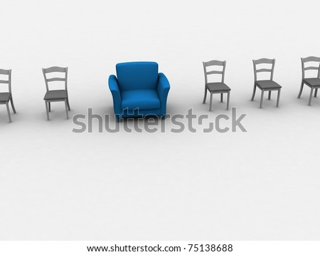 Blue armchair is especially