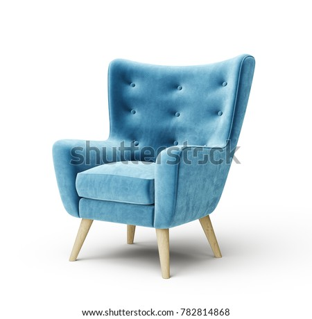 blue armchair isolated on a white. 3d illustration stock photo