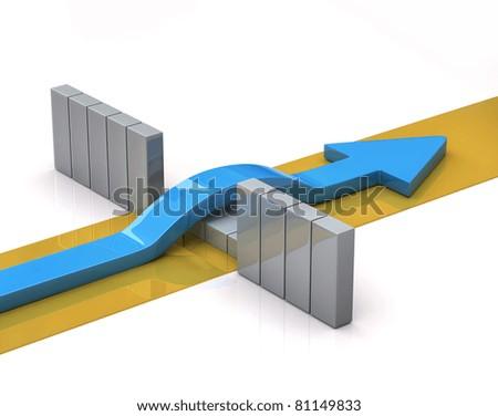 Blue arrow breaks through a barrier