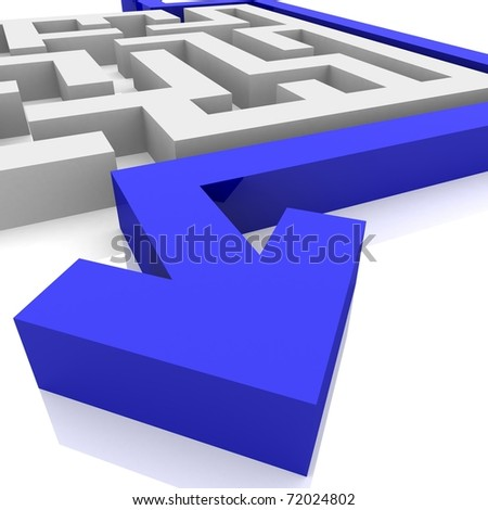blue arrow encircling maze