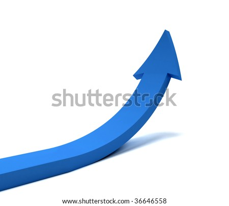Blue arrow going up isolated over white