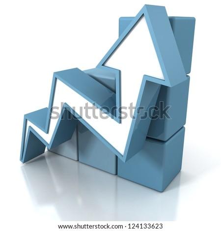 blue arrow going up with grow cubes bar chart