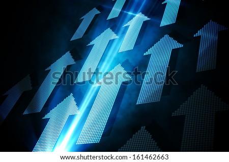 Blue arrows on black background